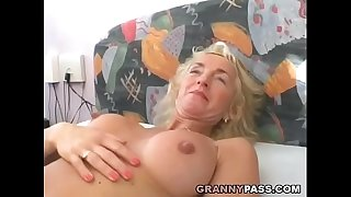 Buxomy Blonde Granny Gets Her Hairy Pussy Bitchy