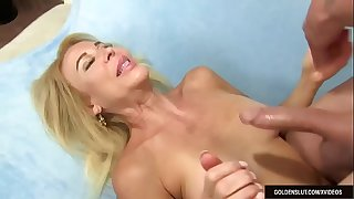 Blonde Granny Erica Lauren Takes a Long Dick in Her Cakehole and Twat