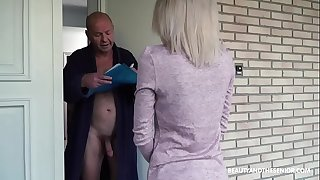 Old grandpa gets horny and nails the delivery girl