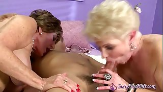 Naughty Grannies Enjoy Hard Cock in Their Pussy