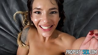 PropertySex - Shady babe with tight body fucked hard by roommate's big dick