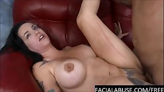 Tattooed brunette endures rough facefucking & gets ruined