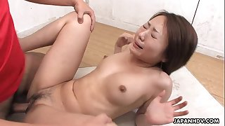 Asian slut has a dick total of her pussy in the class apartment